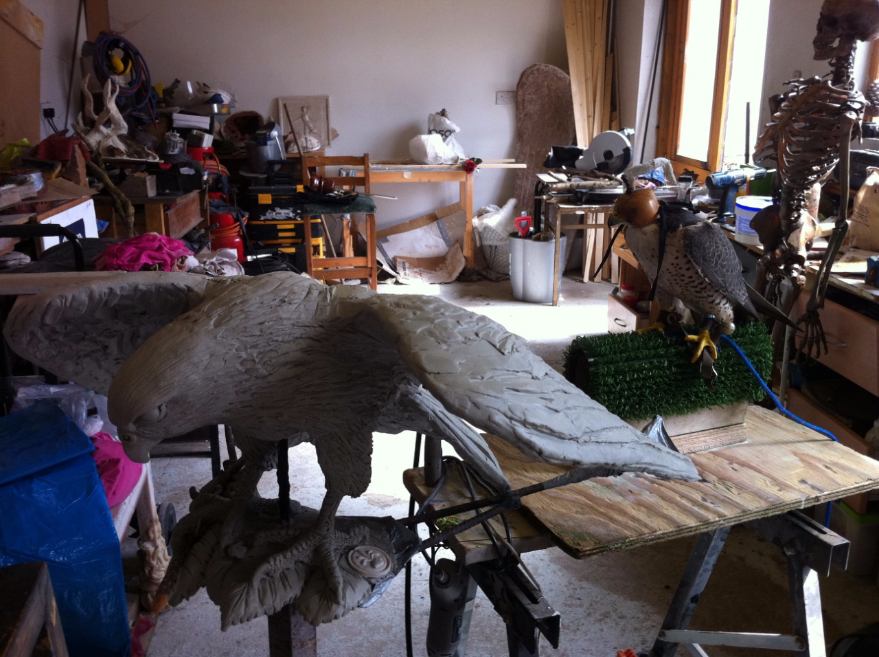 Falcon (being sculpted)